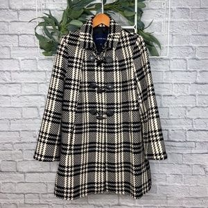 Lands' End Black and Cream Plaid Peacoat - Size 16